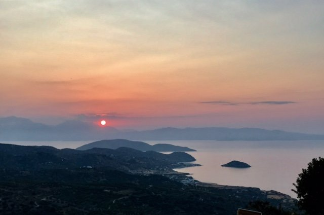 Sunset over Mochlos - taken from Kathodon taverna in Myrsini