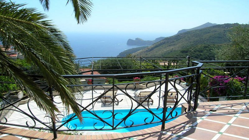 Ocean view from terrace at villa located in quiet position with private swimming pool in sorrento