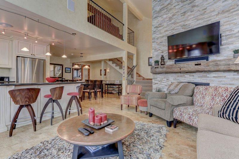 Living Room with a Samsung HD Smart TV, Apple TV and Sonos Soundbar