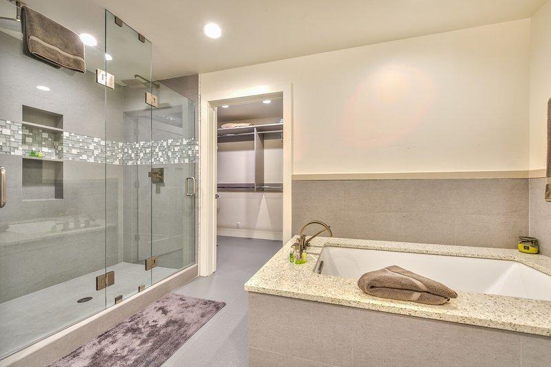 Master Bath Soaking Tub, Dual Head Shower and Large Walk-In Closet