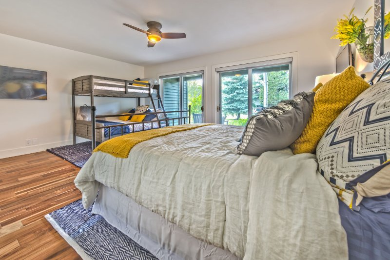Bedroom 4 with Queen Bed, Twin over Full Bunk, 2 HD Smart TVs, Patio Access, Full Bath Direct Access