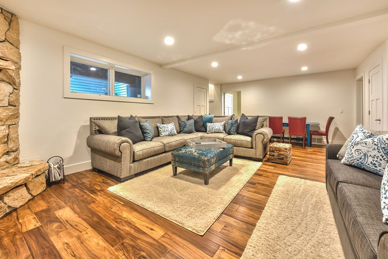 Lower Level Living Area with HD Smart TV, DVD, Wood Burning Fireplace, Queen Tempu-Pedic Sofa Sleeper, Play Station, Wii, Games and Movies
