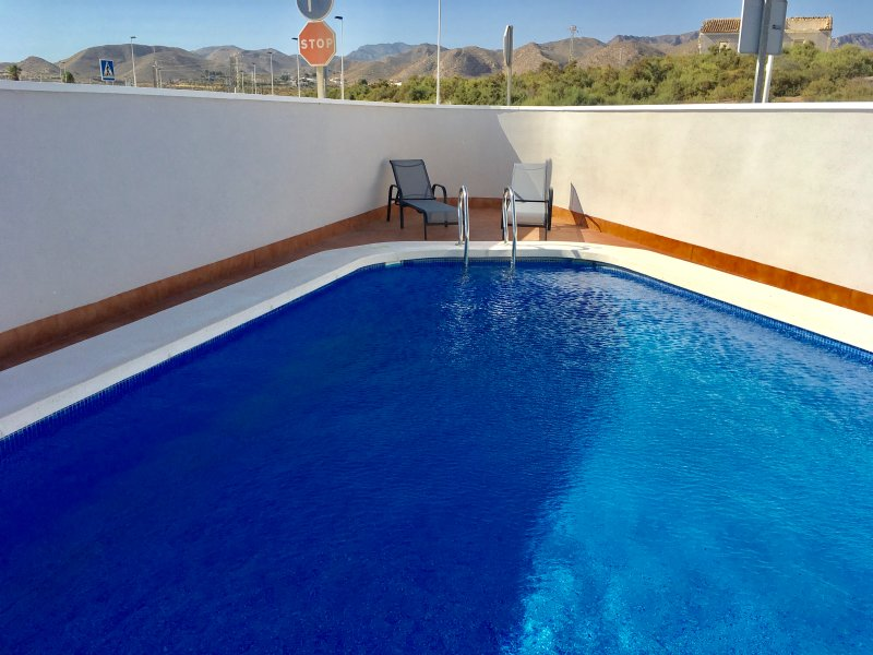 Beautiful family swimming pool. 9.50 x 4.50 metres. Large surrounding patio area to relax and unwind