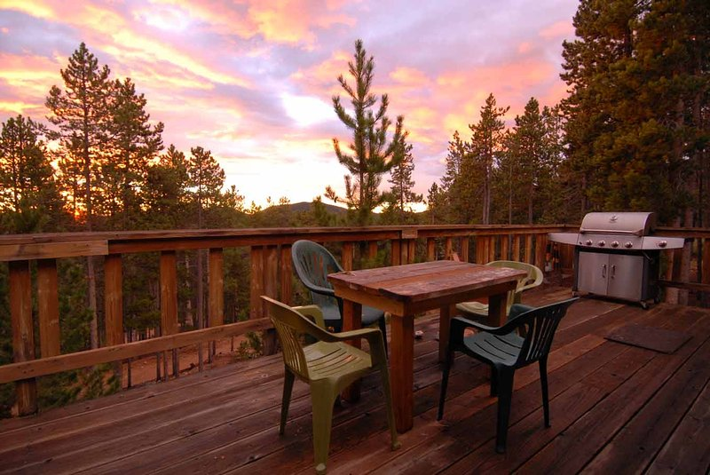 Extraordinary views and year round Mountain Sunrises from the patio of the Wilderness Cottage