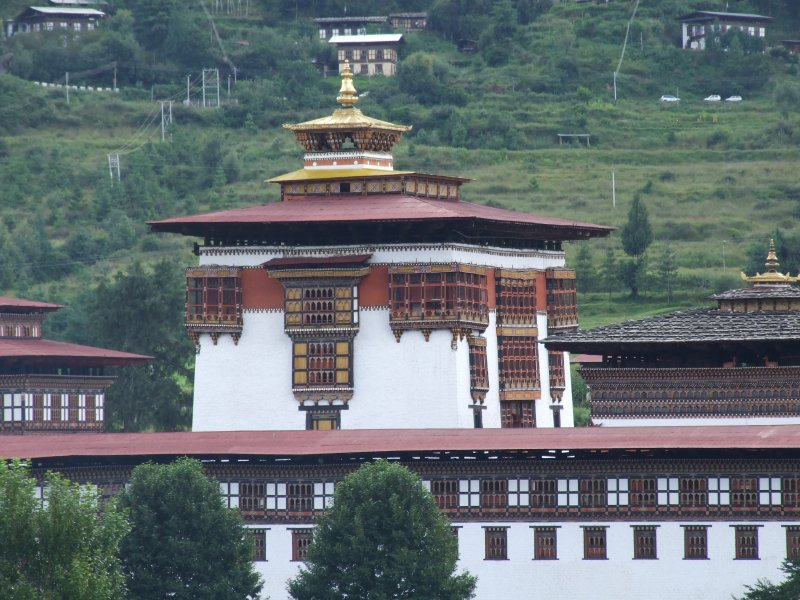 The rebuilt modern Sakyong monastery overlooking the ancient 500 year old relic