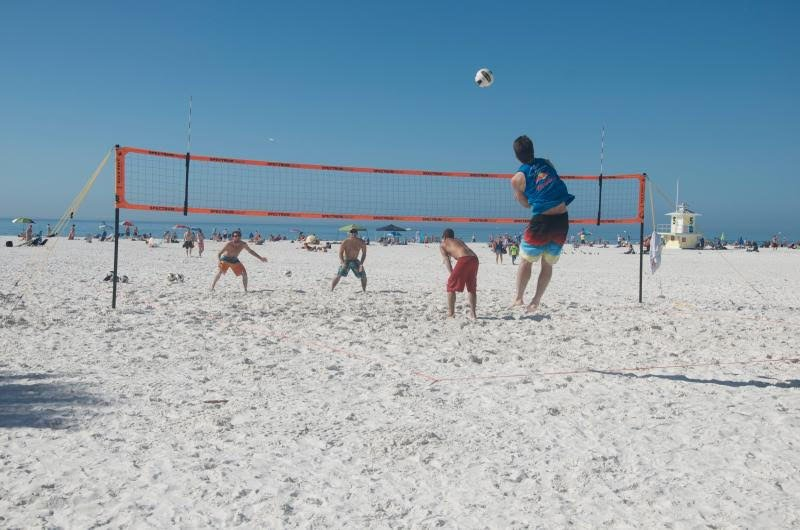 Beach volleyball along Gulf of Mexico