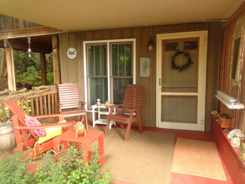 Separate entrance on lower level with covered deck