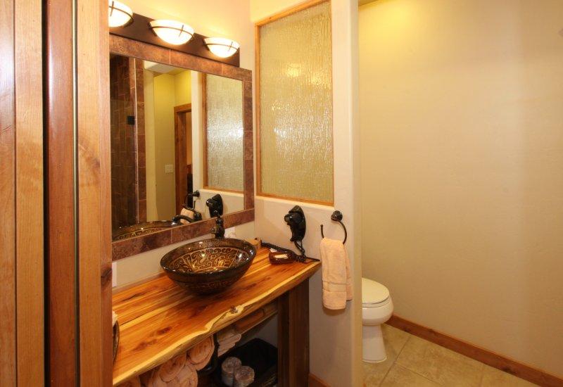 Vessel sink and custom Red Cedar vanity