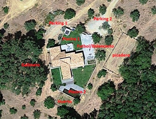 Aerial view of the house.