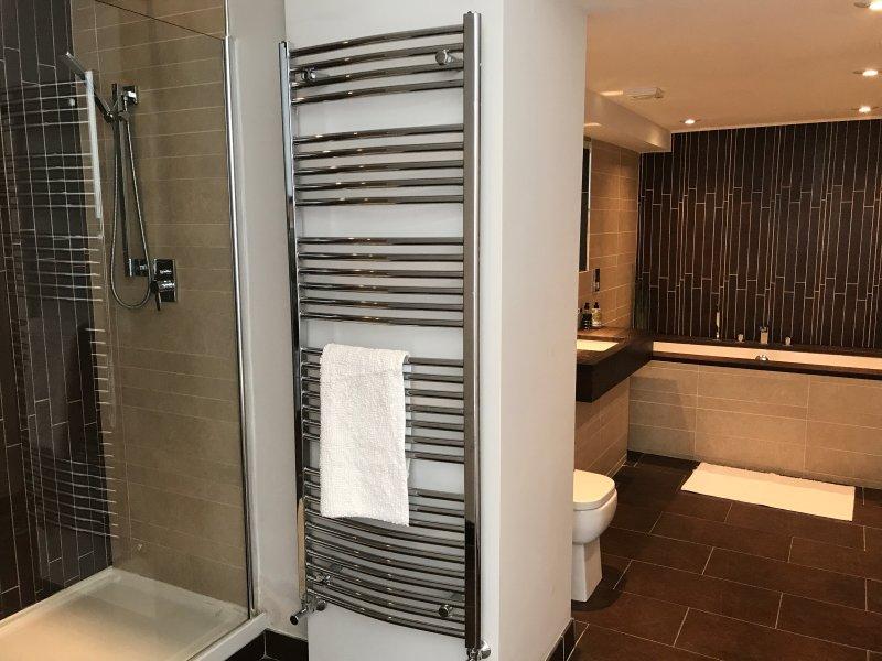 cuarto de baño con plato de ducha y baño