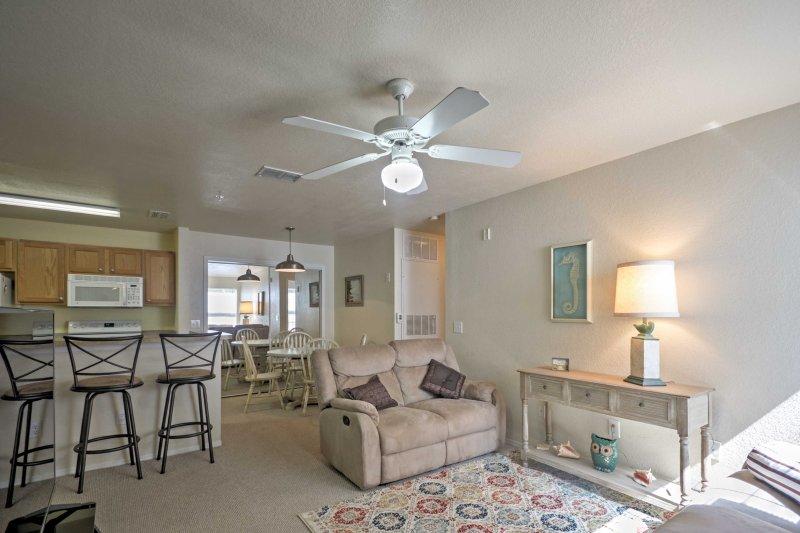 This 2-bedroom, 2-bath condo can sleep 4 guests.