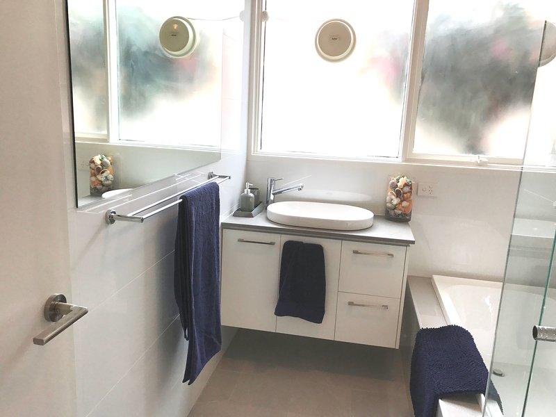 Bathroom, Shower Bath and Vanity.  Separate Toilet