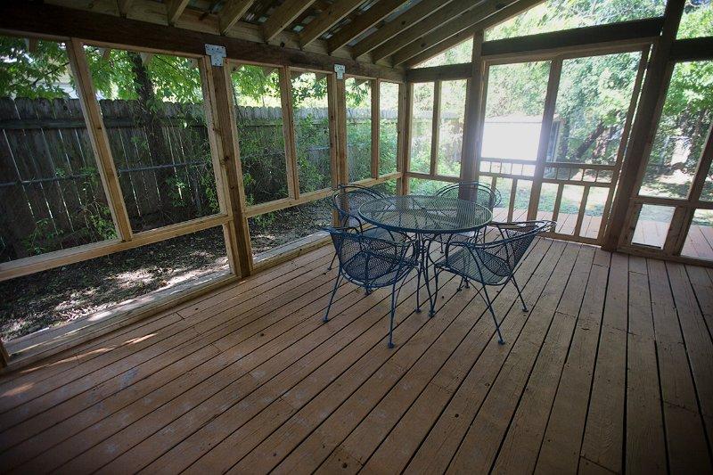 Projeté dans porche pour profiter du beau temps Austin.