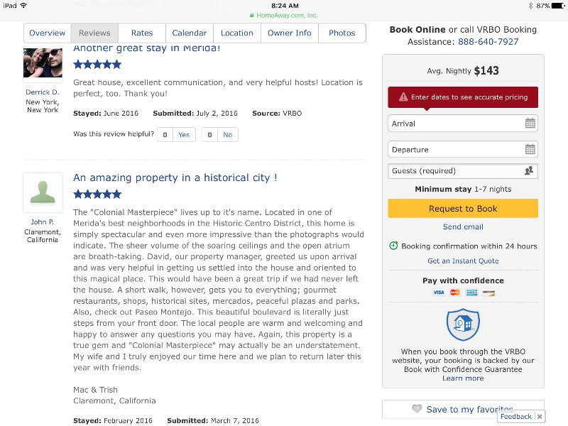 Examples of past reviews from previous owner's listing
