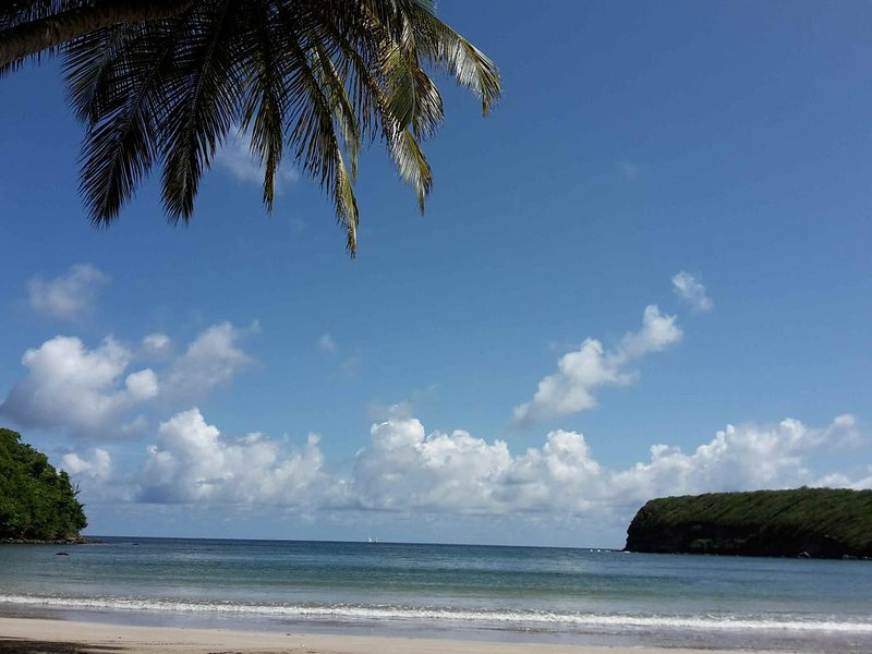 La Sagesse Beach. Safe swimming,plus a bar/restaurant, just a 7 minute drive away.