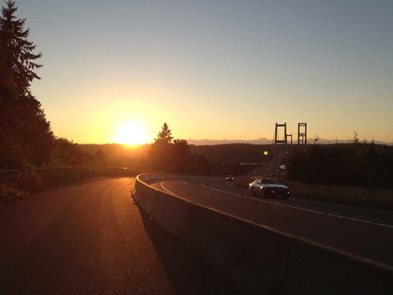 Sunset on the Tacoma Narrows Bridge.
