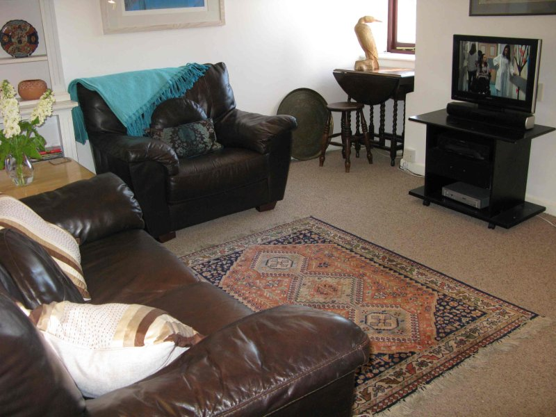 Living area, sofa, two comfy chairs. TV. DVD. Games, books, coffee tables.