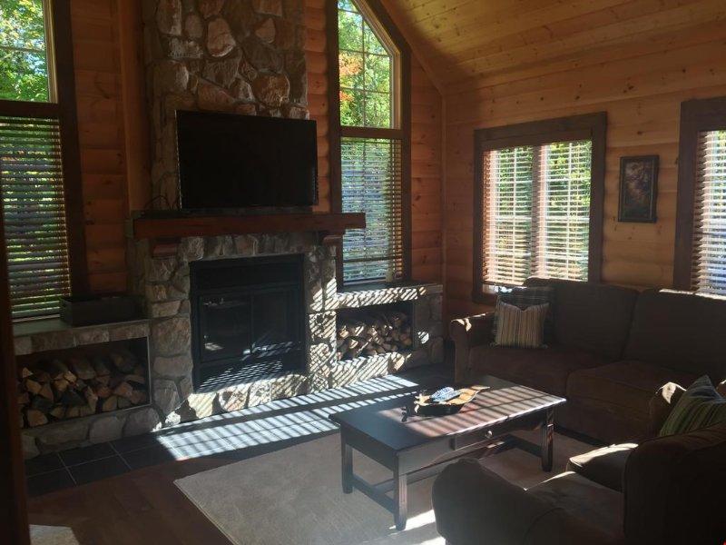 Entspannen Sie sich im geräumigen Wohnzimmer mit einem ausziehbaren Schlafsofa und einem Kamin.