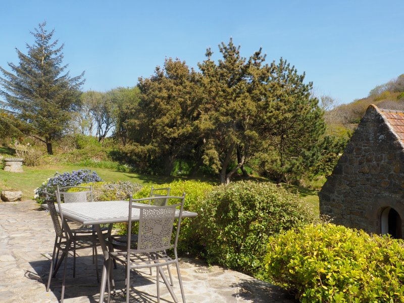 Terrace over the garden and the old mill