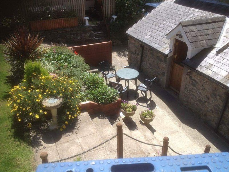 patio area, a real suntrap, rear of house.