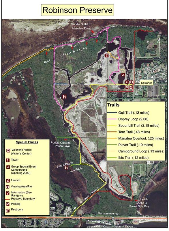 In de omgeving van Robinson Nature Preserve wandelkaart. Gratis toegang!