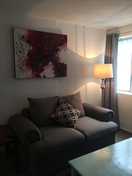 Loveseat with lamp warm light