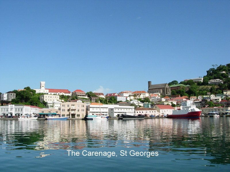 View of the picturesque Carenage and Grenada's capital St George's.