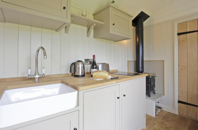 Kitchen area and wood burner