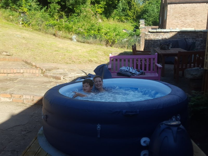 The hot tub is available all year round and is great for relaxing under the stars