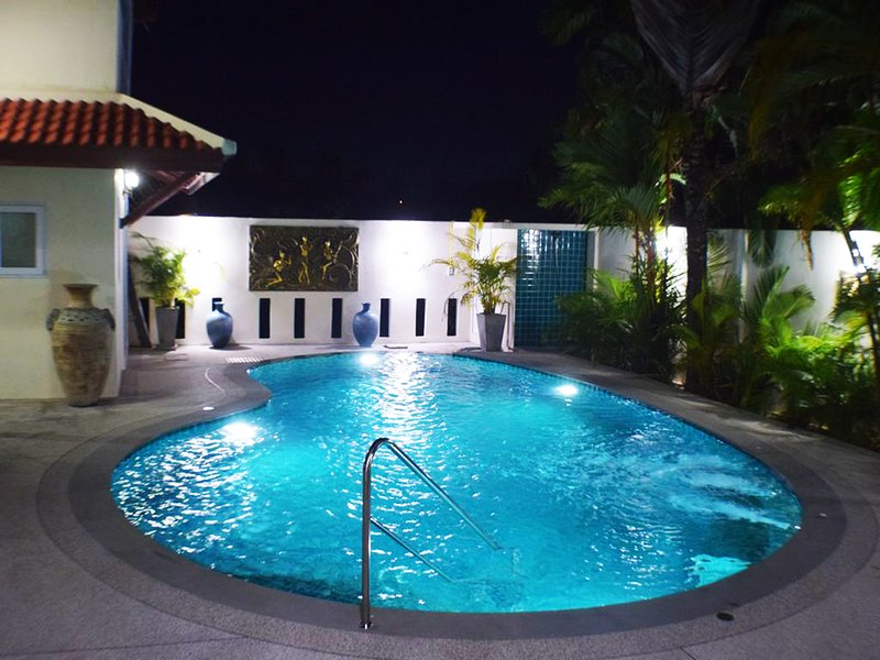Pool at night from Patio