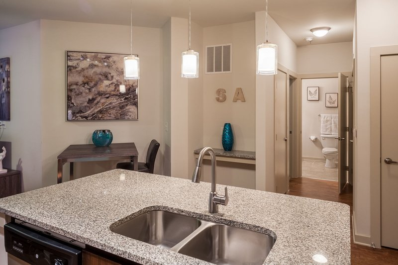 Stay Alfred on Ponce De Leon Avenue Kitchen Island with Beautiful Granite Countertops