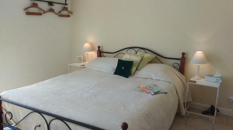 Chambre avec lit king-size et l'accès à la fois la salle d'eau et jardin
