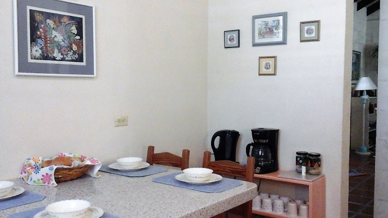 Eat in kitchen seats 4 comfortably.  Coffee and Tea bar to start off your morning with a cuppa.