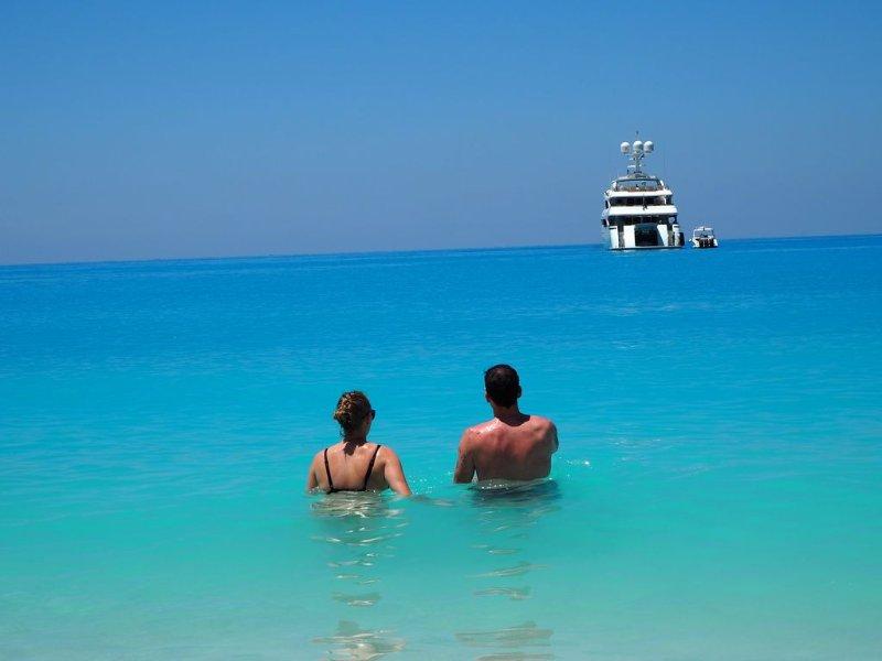 Myrtos água azul turquesa