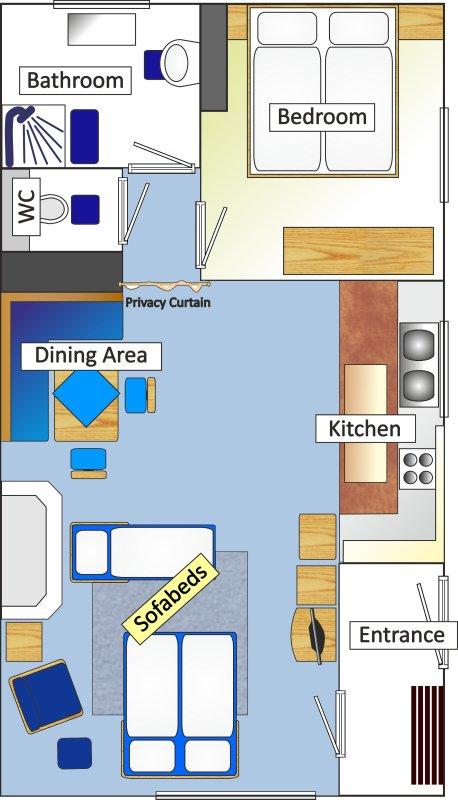 Extended Floor Plan depicting Sofa Beds