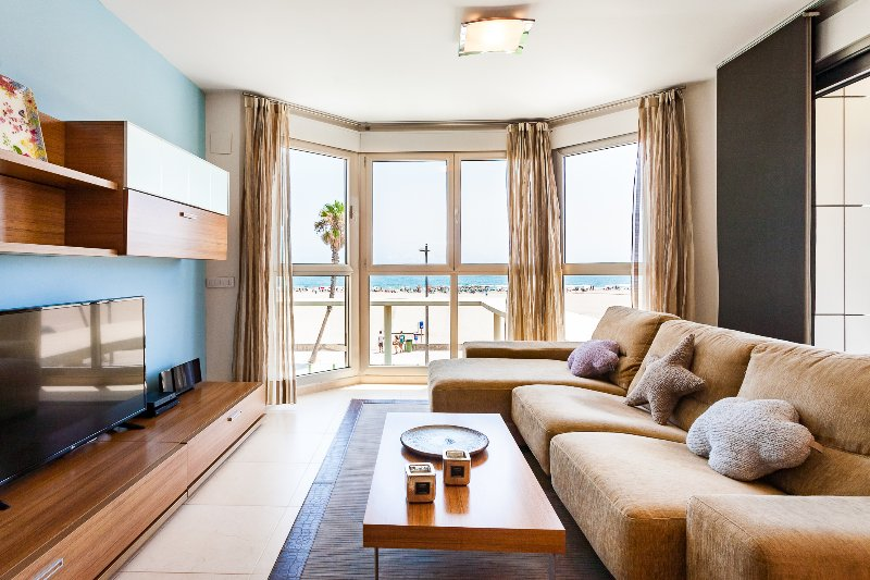 Stunning views of the beach from the living room.