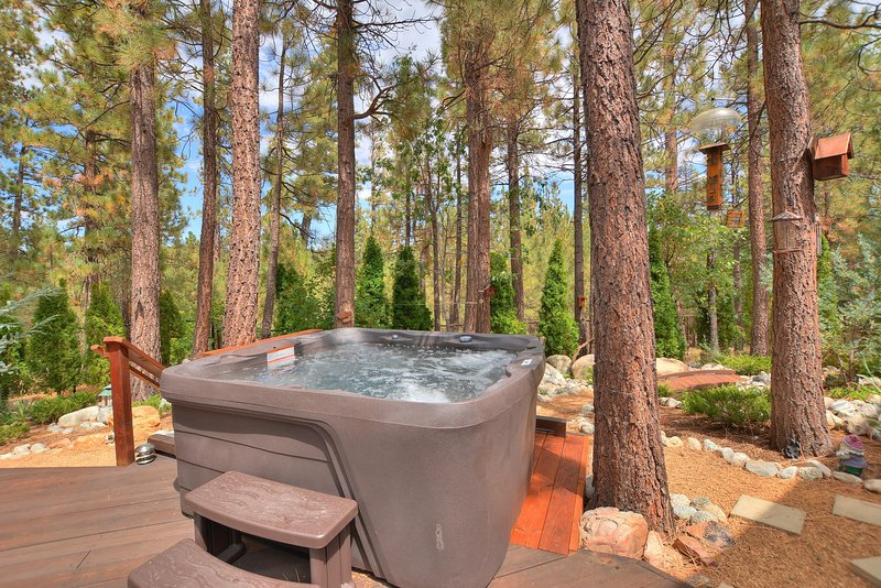 Relax under the sweet smell of pine trees in the brand new hot tub!