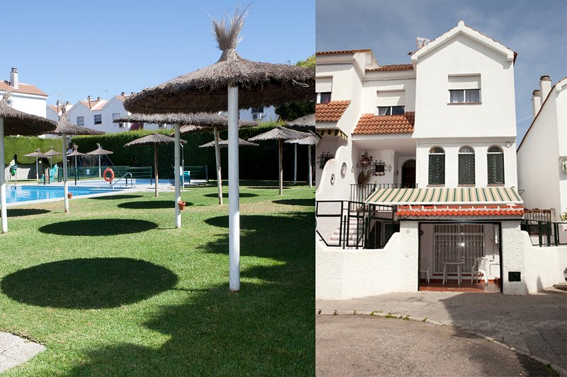 Very bright apartment 10 minutes by Metro from the Tourist Center of Seville Front house and pool