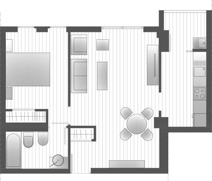 Plano del apartamento. Plan of the apartment.