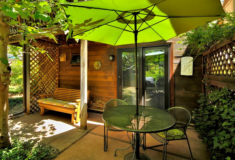 Cozy patio with a gas grill and a comfy slider just for two. Your own private space.
