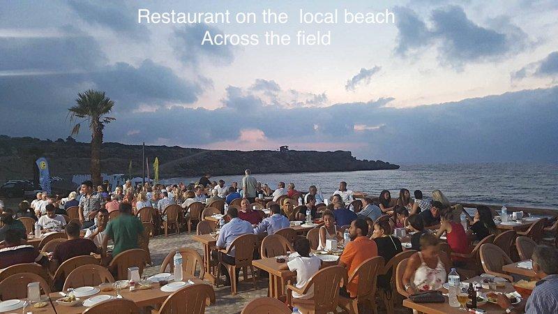 Beach restaurant across the adjacent field