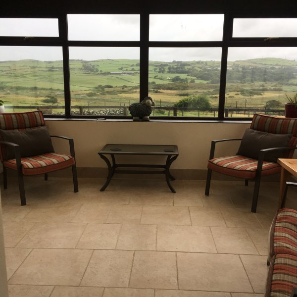 Conservatory with stunning views of snowdonia and criccieth castle