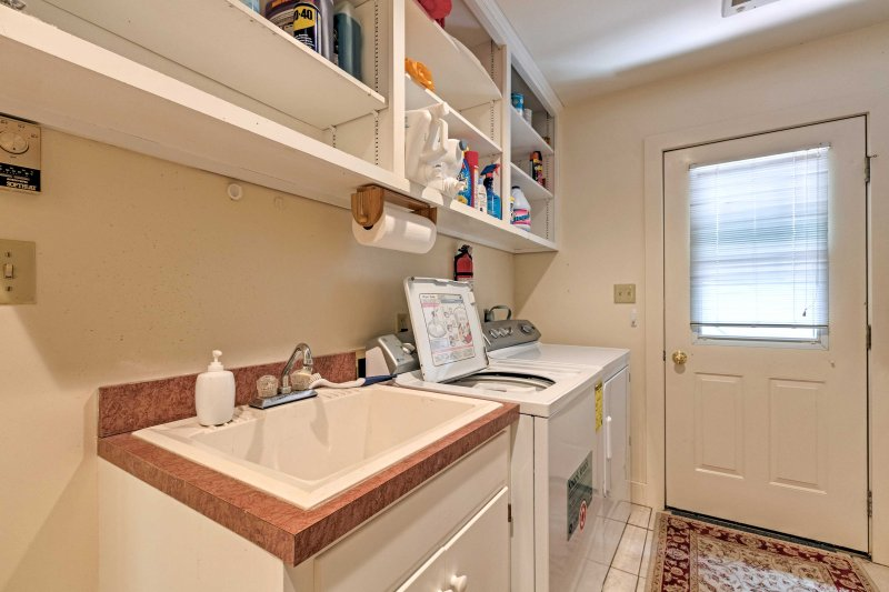In-unit laundry machines are available for guest use.