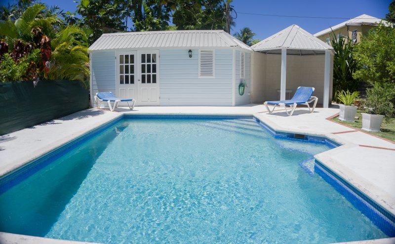 Zwembad, poolhouse en tuinhuisje