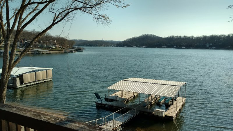 View of private two well dock with lifts and swim platform. Pics of new dock coming soon.