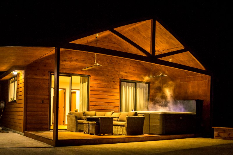 Your private chalet by night.