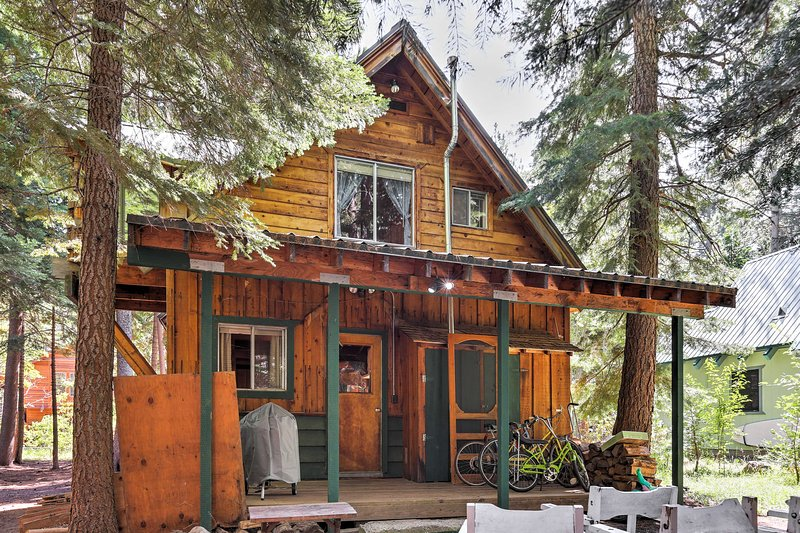 Surrounded by trees in a forest setting, this cabin ensures a relaxing retreat.