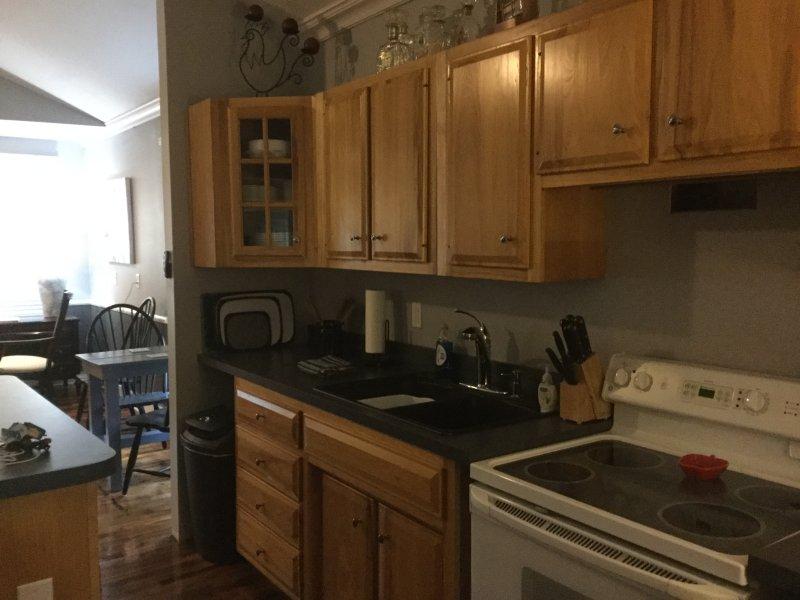 cozinha totalmente equipada, máquina de café, microondas, máquina de fazer gelo