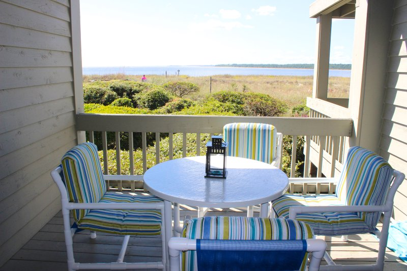 Enjoy views of the Edisto River & ocean beyond from the deck.