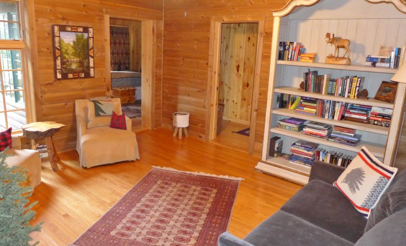 library , pull out couch , sleeps 2 . adjacent to master bath and master bedroom